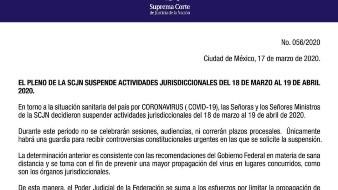Suspende actividades SCJN hasta el 19 de abril