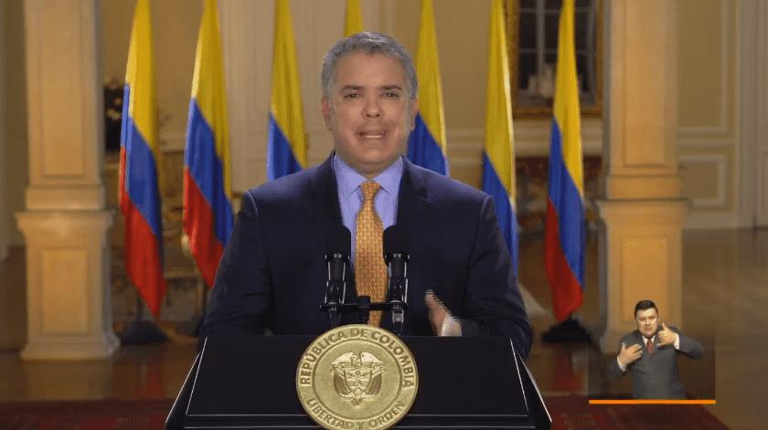 El día de hoy 17 de marzo, en un mensaje televisado, el presidente de Colombia Iván Duque declara estado de emergencia por el COVID-19(Captura de pantalla del vídeo de la cuenta oficial del presidente colombiano @IvanDuque)