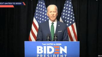 El precandidato presidencial demócrata Joe Biden, hoy 17 de marzo de 2020, en un mensaje televisado