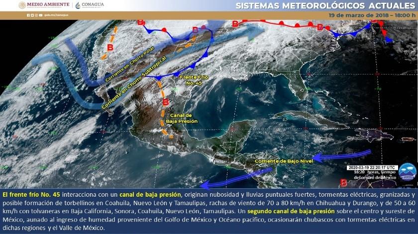 Temperaturas mínimas de -10 a -5 grados Celsius, se estiman en sierras de Baja California, Chihuahua y Durango, y de -5 a 0 grados Celsius en montañas de Sonora.