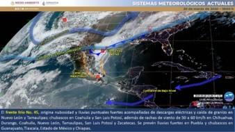 Un canal de baja presión extendido en el centro de México generará lluvias fuertes en Puebla y chubascos en Chiapas, Estado de México, Guanajuato y Tlaxcala.Para las próximas horas se pronostican lluvias fuertes en Nuevo León y Tamaulipas