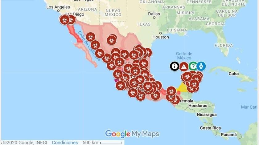 Mapa interactivo de coronavirus en México