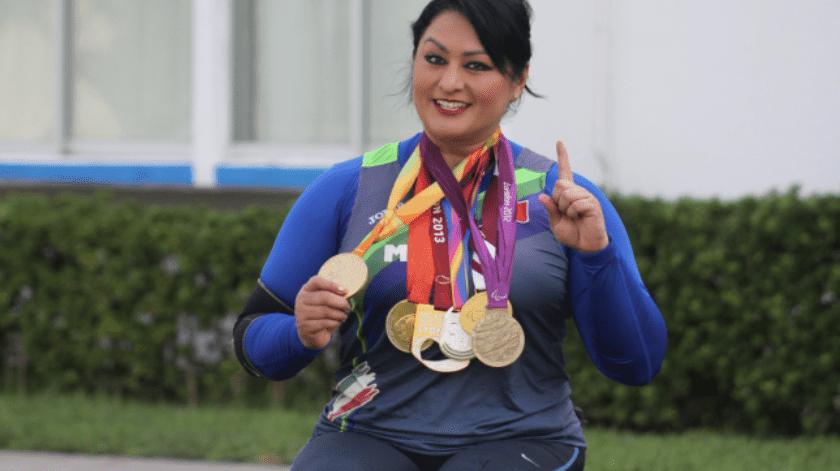 Ángeles Ortiz Hernández ganó la plata en Beijing 2008 y el oro en Londres 2012 y Río 2016 en lanzamiento de bala categoría de tiro F57/58 put.(El Universal)