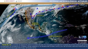 Durante la mañana, se prevén temperaturas mínimas de -5 a 0 grados Celsius en las sierras de Baja California, Chihuahua, Durango y Sonora.