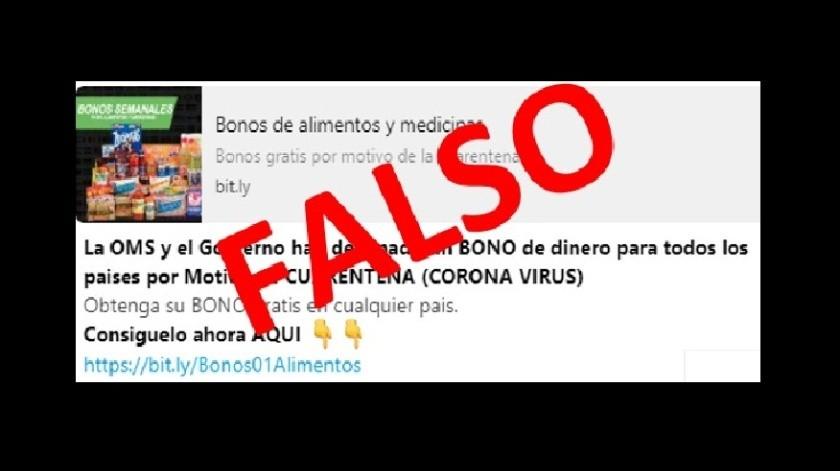 Detectan entrega falsa de bonos en WhatsApp por cuarentena(Cortesía)