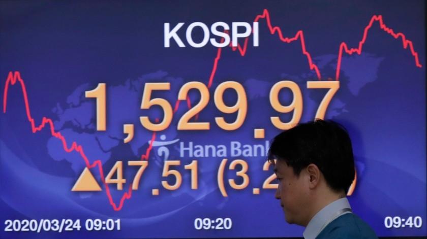 Un corredor camina junto a una pantalla que muestra el índice Kospi en el mercado de divisas en Seúl, Corea del Sur, el martes 24 de marzo de 2020.(AP)