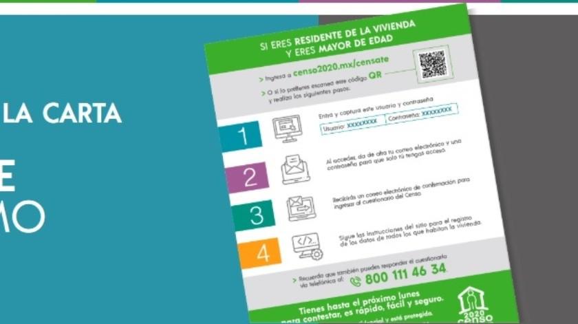 INEGI ofrece censo en línea ante COVID-19(Portal Oficial del Censo de Población y Vivienda 2020)