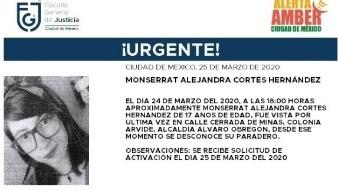 Activan Alerta Amber por desaparición de Monserrat Alejandra en CDMX