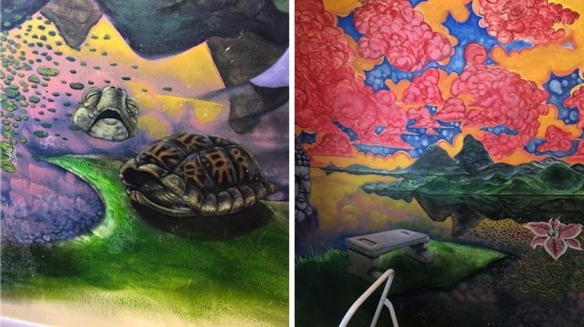 Descubre un mural oculto en su casa luego de que su gato arrancara el empapelado(Facebook/ Garret Jackman)