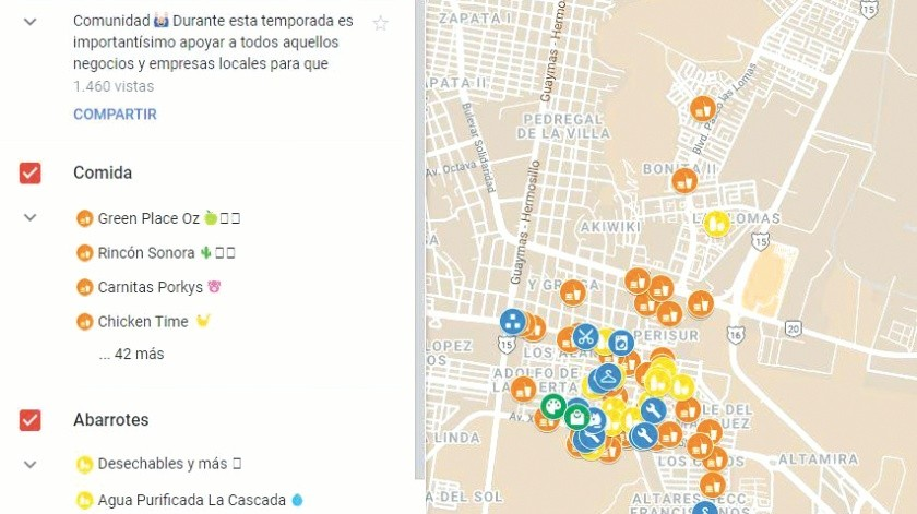 Ponen en el mapa a micro comercios en medio de crisis por coronavirus(Eduardo López)