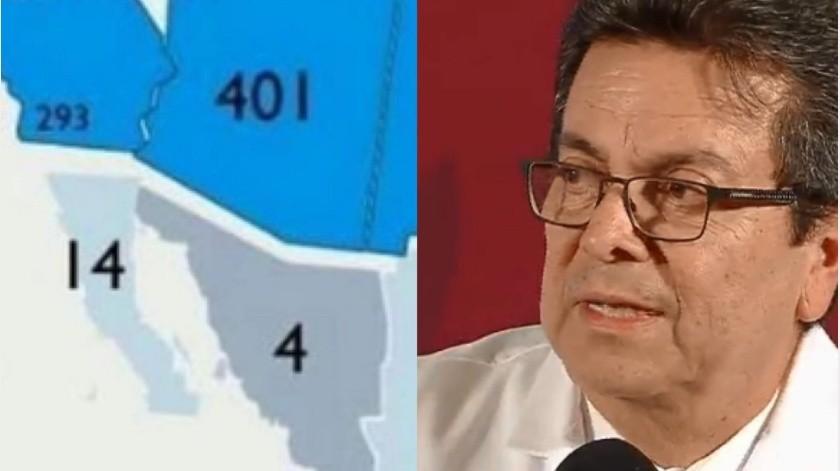 Víctor Hugo Borja explicó en conferencia de prensa el mapa de contraste de casos de coronavirus entre México y Estados Unidos.(Especial)