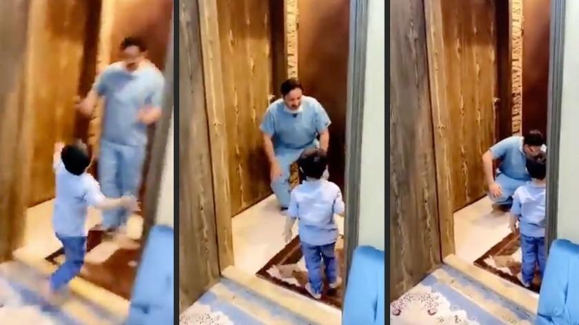Médico rompe en llanto tras rechazar el abrazo de su hijo al llegar a casa