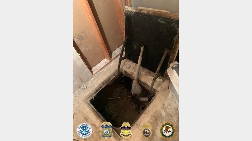 El narcotúnel contaba con una profundidad promedio de poco más de 9 metros(Cortesía DEA San Diego.)
