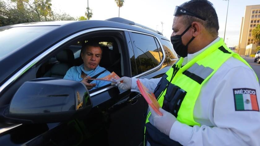 La Policía municipal instaló una veintena de filtros para concientizar sobre el Covid-19.(Eleazar Escobar)