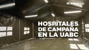 Los dos hospitales que se levantaron en la facultad de medicina de la UABC. En Mexicali, tienen capacidad de 40 camastros cada uno y serán destinado a pacientes en recuperación por Covid-19.