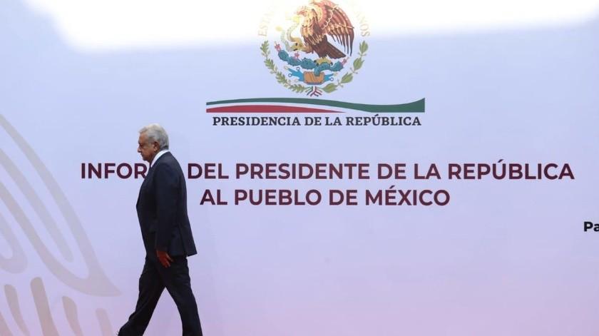 El presidente López Obrador dio su informe desde Palacio Nacional sin la presencia de invitados ni medios.