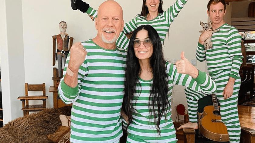 Demi Moore y Bruce Willis pasan juntos la cuarentena en familia.(Internet)