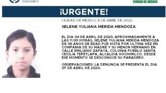 Selene Yuliana Mérida Mendoza fue vista por última vez en compañía de su mamá y su hermano pequeño en la calle Emiliano Zapata.