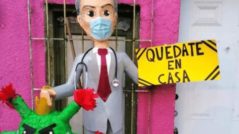 Hugo López-Gatell Ramírez ya tiene su piñata en la ciudad de Reynosa.