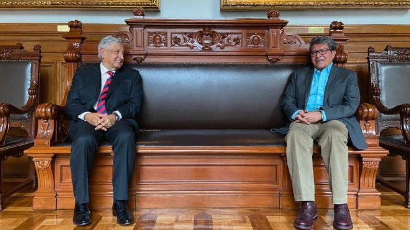AMLO y Monreal se reúnen en Palacio Nacional por Covid-19(Twitter @RicardoMonrealA)