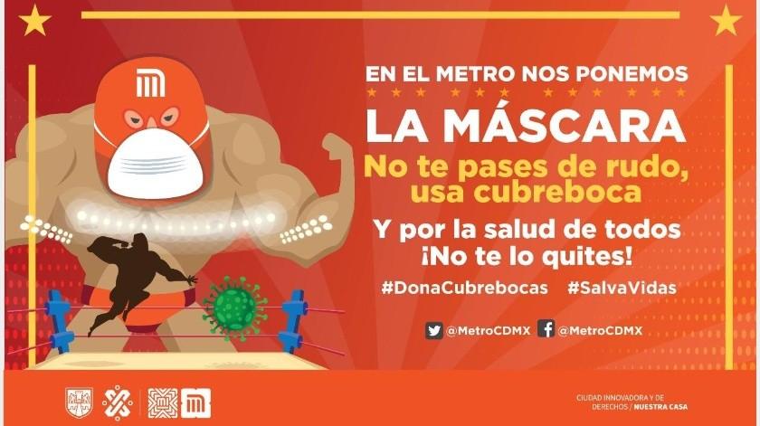 Con lucha libre, Metro de CDMX invita traer y donar cubrebocas de tela(Twitter/ @MetroCDMX)