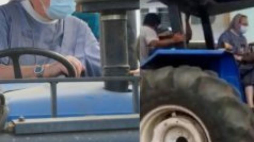 Moja desinfecta las calles a bordo de un tractor(Tomada de la red)