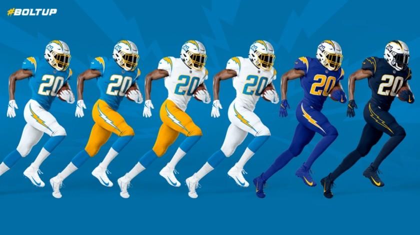 Chargers de Los Ángeles presentan nuevo uniforme para próxima temporada NFL.(Twitter)