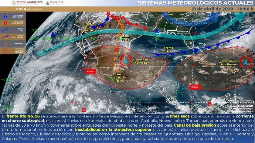 Durante la mañana, se estiman temperaturas mínimas de -5 a 0 grados Celsius en las montañas de Chihuahua y Durango.