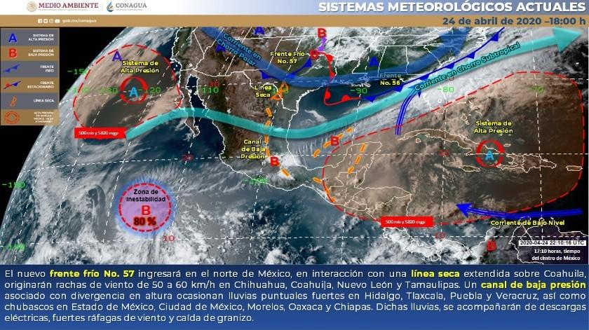 Una zona de baja presión, con 80% de probabilidad de desarrollo ciclónico en el pronóstico a 48 horas, se localiza en el Océano Pacífico.