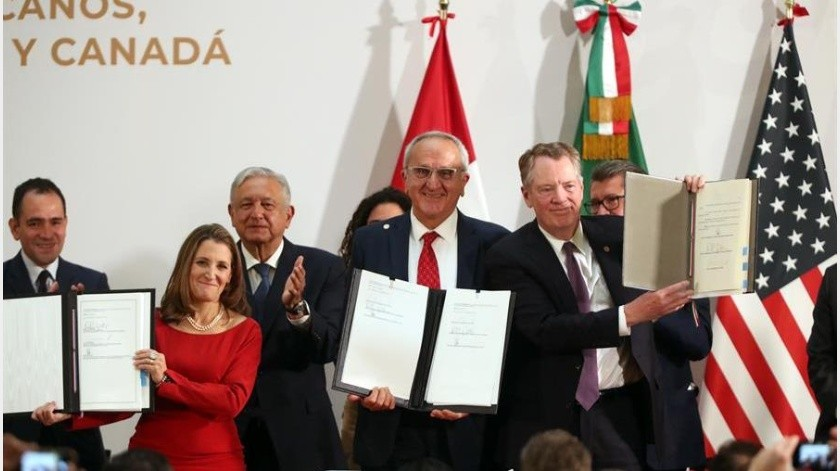 El Gobierno de México, tras la notificación de EU sobre la activación del T-MEC el primero de julio, confirmó y aseguró que con dicho tratado se buscará reactivar la economía de América tras la pandemia.(EFE)