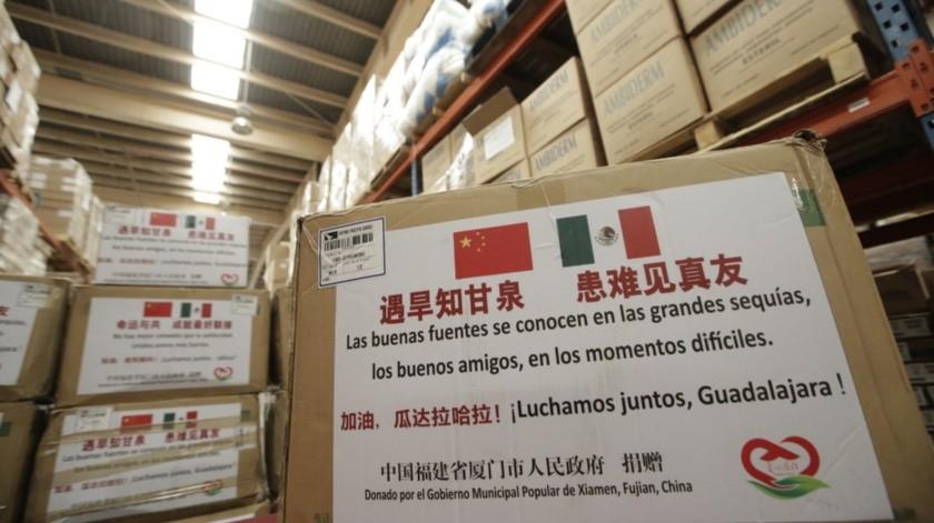 El Gobierno del Estado recibió este viernes un donativo de 20 mil mascarillas faciales como por parte de la ciudad de Xiamen, Provincia de Fujian, en China para ayudar en el combate frente al coronavirus.(Agencia Reforma)