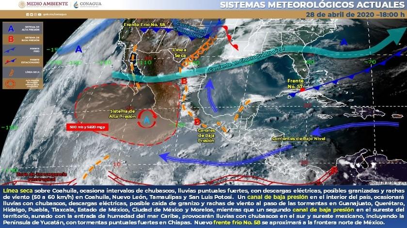 El Frente Frío Número 58 se extenderá en el norte y noreste de México, ocasionando lluvias fuertes.