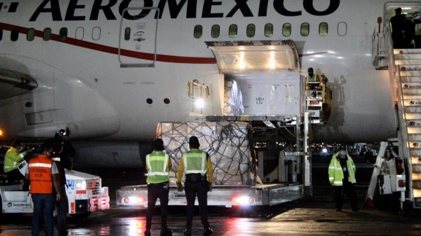 Llega a México séptimo avión con insumos procedente de China(Twitter @marthadelgado)