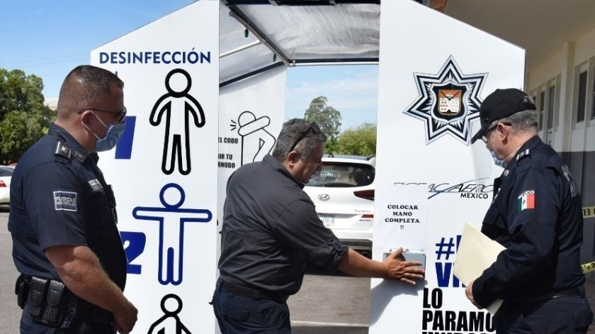 Empresa dona túnel desinfectante a Seguridad Pública Municipal(Especial)
