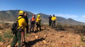 Realizan operativo para sofocar incendio forestal en Tecate