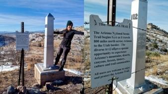 Pequeño obelisco que marca el inicio de la red de senderos que van desde la frontera de Arizona con México hasta Utah.