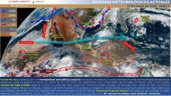 Para mañana, se pronostica el ingreso de un frente frío al noroeste del país, que generará vientos con rachas de 50 a 60 km/h y tolvaneras en la Península de Baja California, Sonora y Chihuahua.