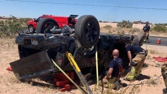 Volcadura en Yuma deja un lesionado