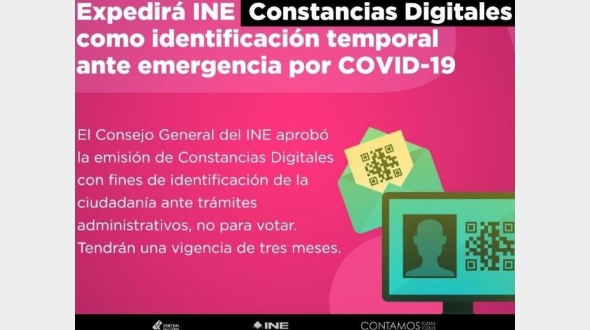 INE expedirá Constancias Digitales de Identificación ante emergencia por Covid-19(INE)
