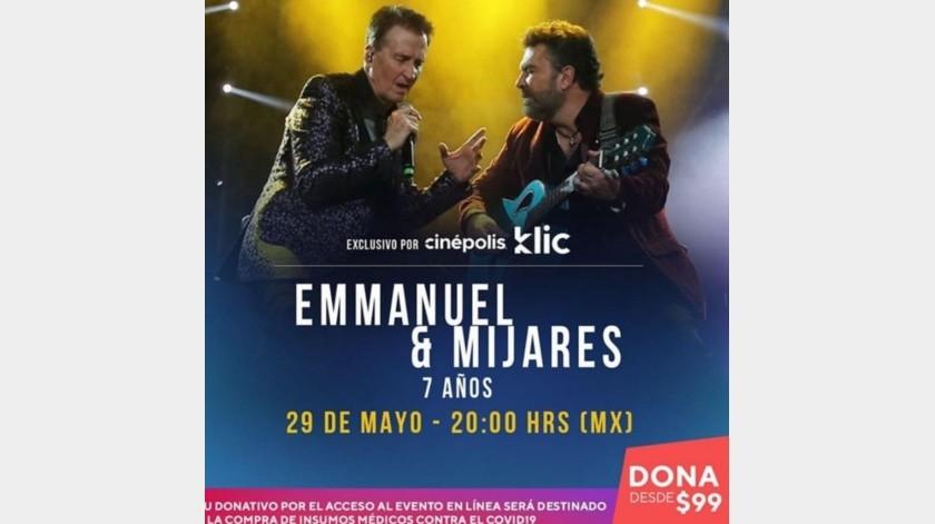 Manuel Mijares y Emmanuel realizarán concierto con el que ayudarán a personal médico que lucha contra el Covid-19.(Instagram: oficialmijares)