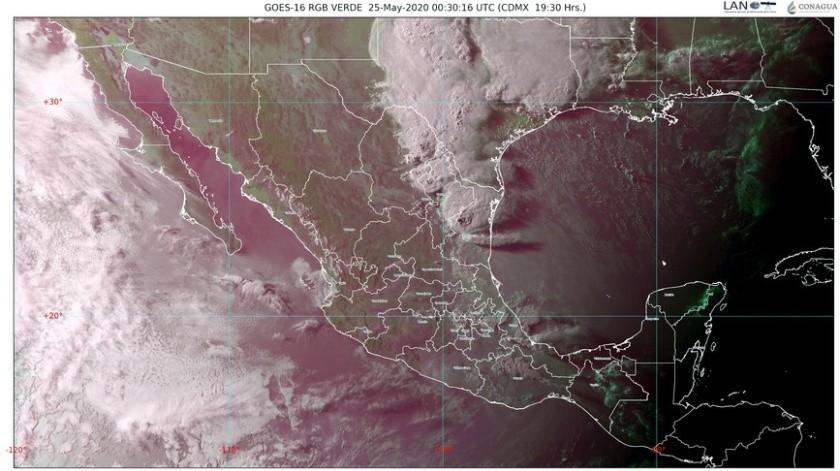 Canales de baja presión extendidos en el oriente y el sureste del país, y la onda tropical número 1 sobre la Península de Yucatán, provocarán lluvias.