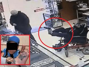 A pie armado: captan insólito asalto de persona en silla de ruedas en joyería