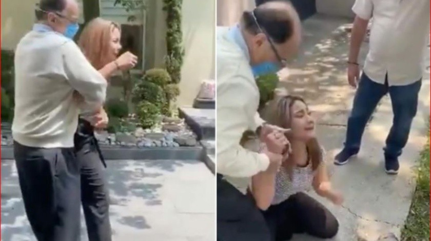 En redes sociales circula un video en el que se observa que un hombre, presuntamente notario del Estado de México, con sede en Naucalpan, jala en repetidas ocasiones a una mujer.