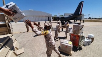 Llegan insumos contra Covid-19 a Base Aérea Militar en Hermosillo