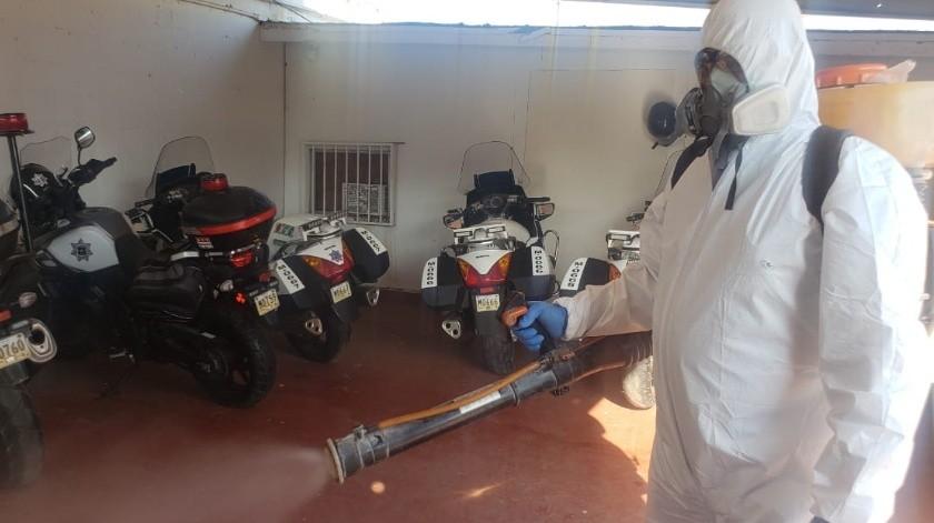 Refuerzan medidas en Policía de Ensenada tras caso confirmado de Covid-19(Jayme García)
