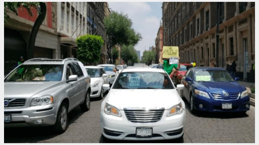 Desde las 10 de la mañana, una caravana de vehículos avanzó desde Polanco hasta Palacio Nacional para manifestarse contra las políticas que ha implementado el presidente Andrés Manuel López Obrador.(Especial)