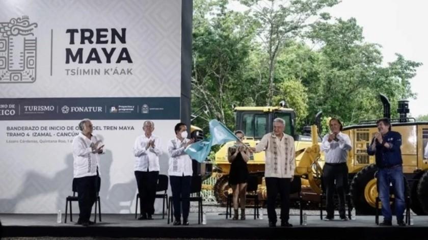 AMLO da banderazo de inicio de la construcción del Tren Maya(El Universal)