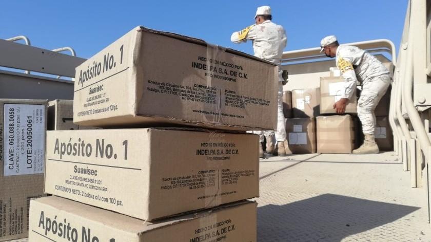 Llegan insumos médicos para enfrentar Covid-19 a Base Aérea Militar en Hermosillo(Cortesía)