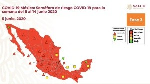 La semana pasada sólo Zacatecas estaba en naranja, pero esta semana ya está en rojo; es decir, todo el País está en riesgo máximo.