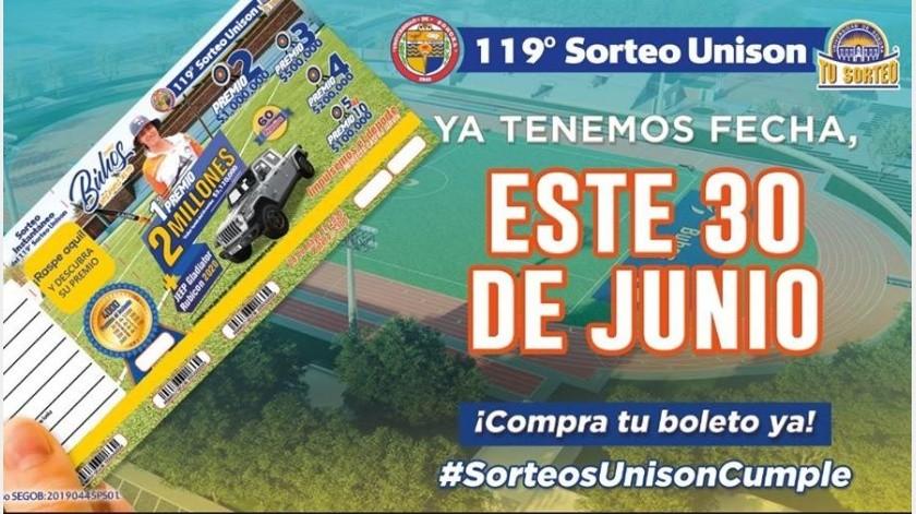 30 de junio, nueva fecha para el 119 Sorteo de la Unison(Facebook/ Sorteo Unison (Oficial))